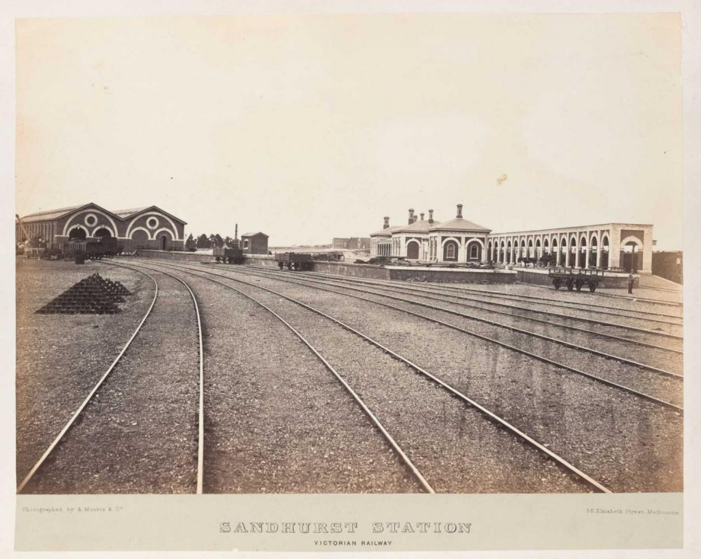 The Bendigo goods shed (Discovery Center) and train station in the 1870s